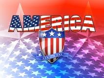 Bandera americana de AMÉRICA y fondo del escudo Fotografía de archivo libre de regalías