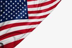 Bandera americana de la tela con el copyspace para su texto en el fondo blanco ilustración del vector