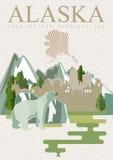 Bandera americana del viaje de Alaska Tarjeta de la vendimia ilustración del vector