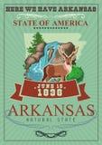 Bandera americana del viaje de Arkansas Aquí tenemos Arkansas libre illustration
