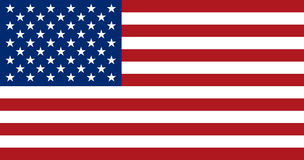 Bandera americana, disposición plana, ejemplo del vector fotos de archivo