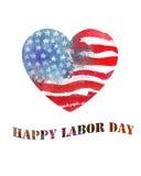 Bandera americana en forma de corazón de la acuarela Día del Trabajo Fotografía de archivo