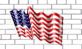 Bandera Americana en pared de labrillos. La bandera de los Estados Unidos fue mencionada por primera vez en 1777. Su autor fue probablemente el congresista Stock Photo