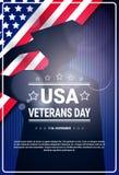 Bandera americana nacional del día de fiesta de la celebración del día de veteranos con el fondo de la bandera de Silhouette Over Fotografía de archivo libre de regalías