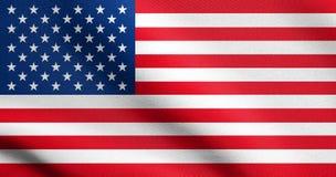 Bandera americana que agita en viento con textura de la tela Imagenes de archivo