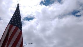 Bandera americana que agita orgulloso almacen de metraje de vídeo
