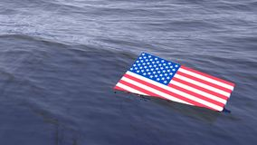 Bandera americana que se ahoga en el concepto de la crisis del océano Foto de archivo