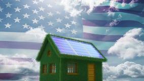 Bandera americana y casa ecológica