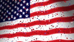 Bandera americana y confeti stock de ilustración