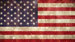 Bandera americana y nieve almacen de video