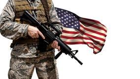 Bandera americana y soldado metrajes