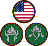 Bandera americana y tocado indio Fotos de archivo
