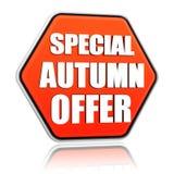 Bandera anaranjada del hexágono de la oferta especial del otoño Foto de archivo libre de regalías