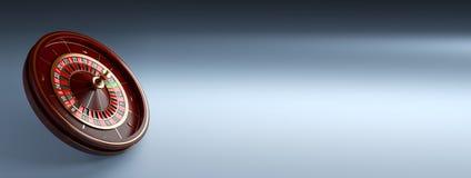 Bandera ancha de lujo de la rueda de ruleta del casino en fondo azul Ejemplo de madera de la representación de la ruleta 3d del c imagen de archivo
