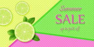Bandera apetitosa de la fruta para la venta del verano Rebanadas de limón y de cal jugosos en un fondo brillante El concepto de d ilustración del vector