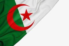 Bandera argelina de la tela con el copyspace para su texto en el fondo blanco ilustración del vector