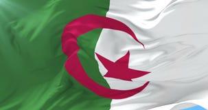 Bandera argelina que agita en el viento con el cielo azul, lazo