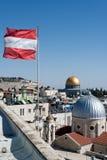 Bandera austríaca en Jerusalén Fotos de archivo libres de regalías