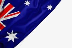 Bandera australiana de la tela con el copyspace para su texto en el fondo blanco libre illustration