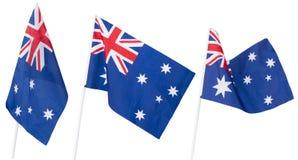 Bandera australiana en el fondo blanco Imágenes de archivo libres de regalías