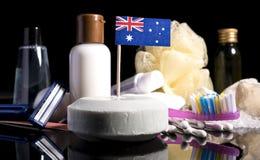 Bandera australiana en el jabón con todos los productos para la gente Fotos de archivo libres de regalías