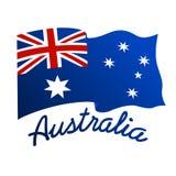 Bandera australiana en viento con la palabra Australia ilustración del vector