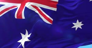 Bandera australiana que agita en el viento con el cielo azul, lazo