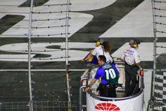 Bandera azul-amarilla de NASCAR hacia fuera Imagen de archivo