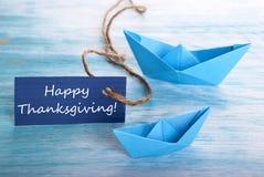 Bandera azul con acción de gracias feliz Fotografía de archivo libre de regalías