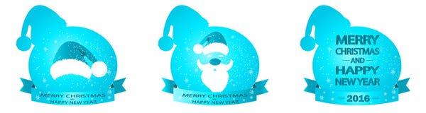 Bandera azul con el sombrero y Santa Claus Imagen de archivo libre de regalías