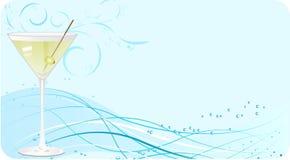 Bandera azul de martini ilustración del vector