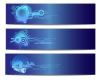 Bandera azul del vector de la tecnología Fotografía de archivo