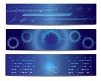Bandera azul del vector de la tecnología Fotos de archivo libres de regalías