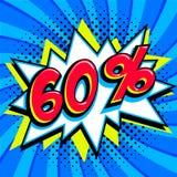 Bandera azul del web de la venta Venta estupenda El sesenta por ciento 60 de la venta en el azul torcido Fotografía de archivo libre de regalías