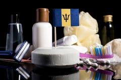 Bandera barbadense en el jabón con todos los productos para la gente Imágenes de archivo libres de regalías
