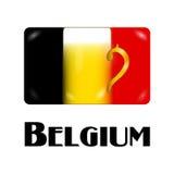 Bandera belga con la pinta de cerveza en el centro como muestra nacional Imagen de archivo