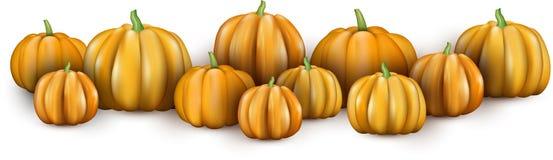 Bandera blanca con las calabazas anaranjadas 3d stock de ilustración