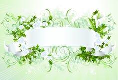 Bandera blanca con las flores Imagenes de archivo