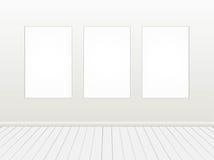 Bandera blanca en blanco en la pared de ladrillo ilustración del vector