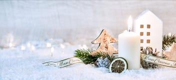 Bandera blanca festiva de la Navidad del invierno Fotografía de archivo