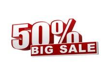 bandera blanca roja de la venta grande de 50 porcentajes - cartas y bloque Fotos de archivo