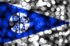 Bandera borrosa abstracta del bokeh de Minneapolis, Minnesota La Navidad, Año Nuevo y bandera del concepto del día nacional Los E ilustración del vector