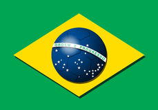 Bandera brasileña con el balón de fútbol Imagenes de archivo
