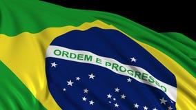 Bandera brasileña en la cámara lenta La bandera se convierte suavemente en el viento ilustración del vector