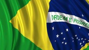 Bandera brasile?a en la c?mara lenta La bandera se convierte suavemente en el viento ilustración del vector