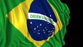 Bandera brasile?a en la c?mara lenta La bandera se convierte suavemente en el viento libre illustration