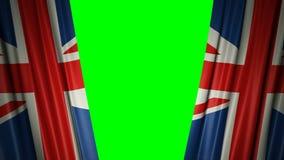 Bandera británica animación 3d de la apertura y de cortinas cerradas con la bandera 4K stock de ilustración