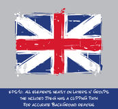 Bandera británica de la revolución americana plana - el cepillo artístico frota ligeramente a ilustración del vector
