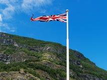 Bandera británica de Reino Unido que agita Imagenes de archivo