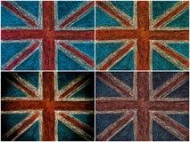 Bandera británica del Union Jack de Reino Unido, dibujo de la mano con tiza en la pizarra Imágenes de archivo libres de regalías